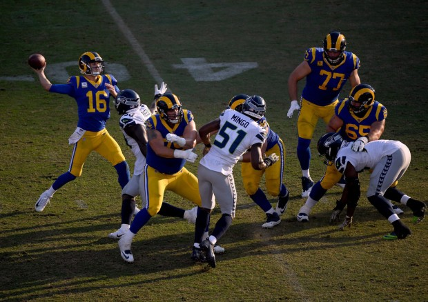 Los Angeles Rams quarterback Jared Goff attempting a pass against the Seattle Seahawks