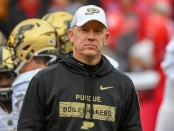 Purdue Boilermakers head coach Jeff Brohm looking on during warmups prior to the Nebraska Cornhuskers game