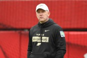 Purdue Boilermakers head coach Jeff Brohm watching warm ups before the game against the Nebraska Cornhuskers