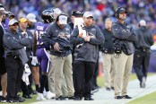 Baltimore Ravens head coach John Harbaugh looking on against the New Orleans Saints