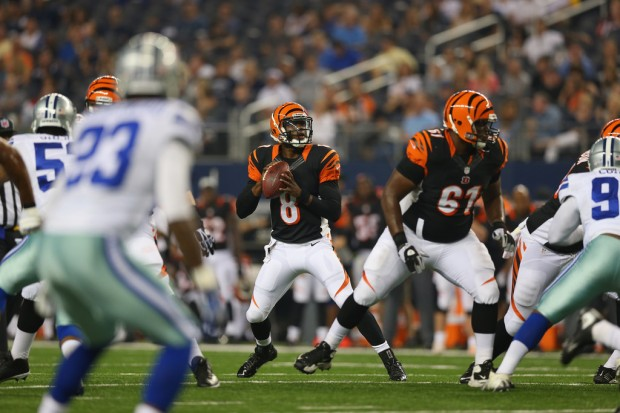 Former Cincinnati Bengals quarterback Josh Johnson drops back for a pass attempt against the Dallas Cowboys in a 2013 preseason game
