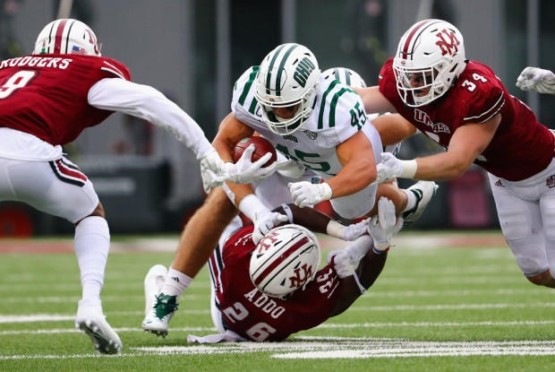 Ohio Bobcats running back A.J. Ouellette running the ball against the UMASS Minutemen