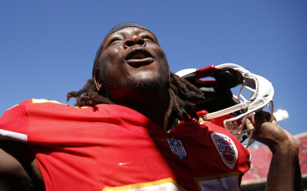 Former Kansas City Chiefs running back Kareem Hunt celebrates on the sidelines after a win against the San Francisco 49ers