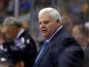 Former St. Louis Blues head coach Ken Hitchcock watches from the bench against the Washington Capitals