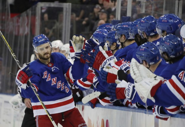 New York Rangers defenseman Kevin Shattenkirk celebrates a shootout goal against the Colorado Avalanche