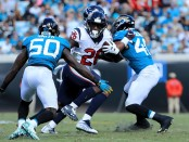 Houston Texans running back Lamar Miller running the ball against the Jacksonville Jaguars