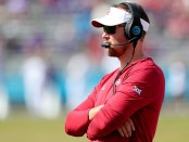 Oklahoma Sooners head coach Lincoln Riley looking on against the TCU Horned Frogs