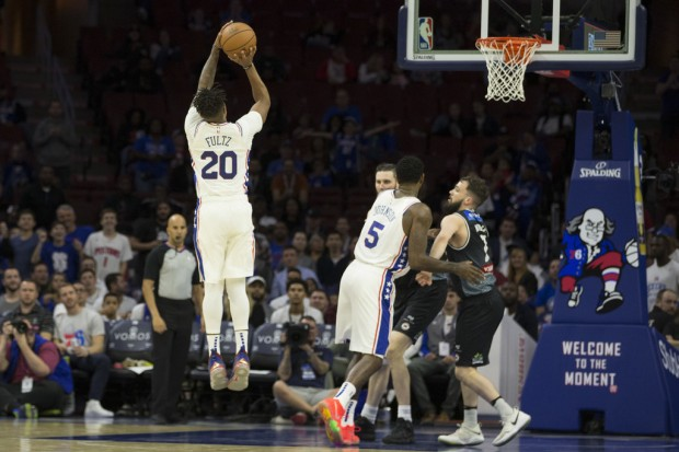 Philadelphia 76ers guard Markelle Fultz shooting the ball against the Melbourne United in preseason action