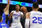 Philadelphia 76ers guard Markelle Fultz drives to the basket against the Orlando Magic