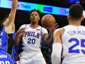 Philadelphia 76ers guard Markelle Fultz drives to the basket against the Orlando Magic