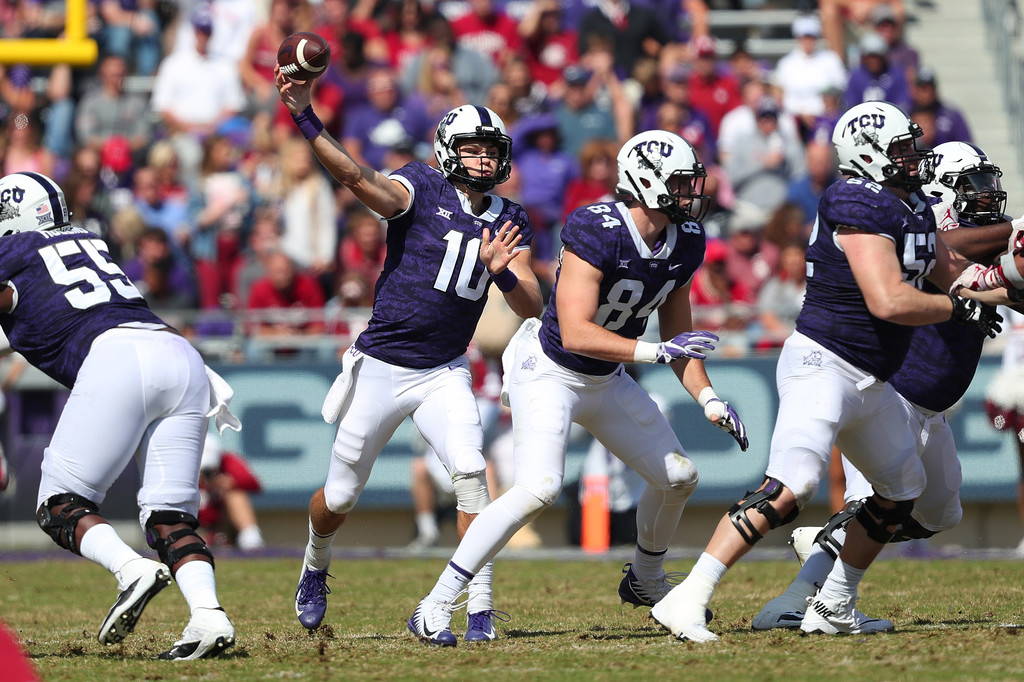 TCU Horned Frogs quarterback Michael Collins attempting a pass against the Oklahoma Sooners