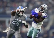 Dallas Cowboys rookie wide receiver Michael Gallup attempts to make a catch against the Detroit Lions