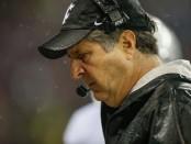 Washington State Cougars head coach Mike Leach looks on against the Washington Huskies