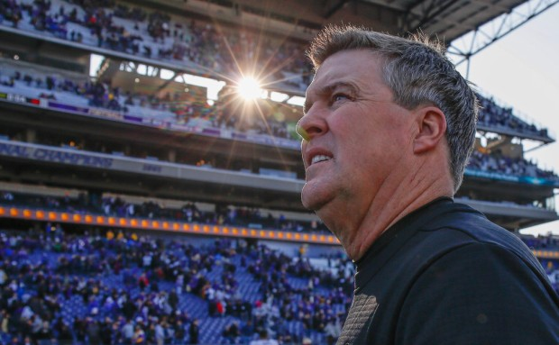 Colorado Buffaloes head coach Mike MacIntyre heads off the field after the game with the Washington Huskies
