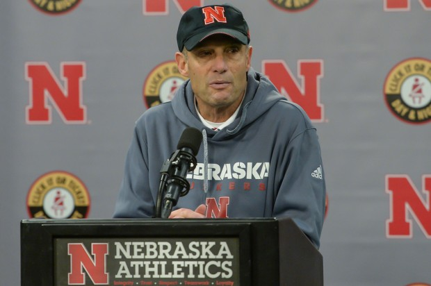 Former Nebraska Cornhuskers head coach Mike Riley talking to the media after the game with the Iowa Hawkeyes