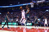 Toronto Raptors forward Pascal Siakam attempting to make a basket against the Milwaukee Bucks