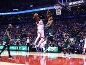 Toronto Raptors forward Pascal Siakam attempting to make a basket against the Milwaukee Bucks
