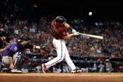 Arizona Diamondbacks first baseman Paul Goldschmidt hits a foul ball against the Colorado Rockies