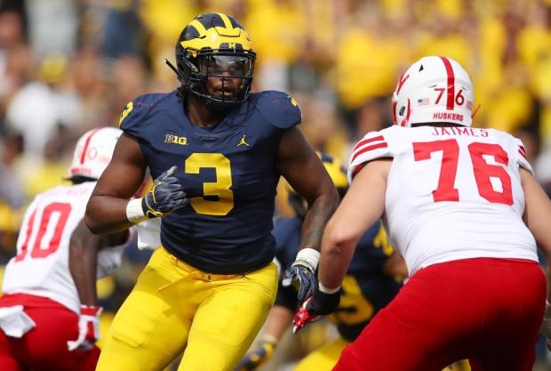 Michigan Wolverines defensive tackle Rashan Gary rushes the quarterback against the Nebraska Cornhuskers