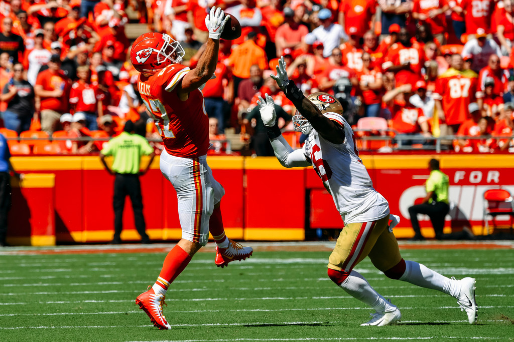 Former San Francisco 49ers linebacker Reuben Foster attempts to interfere with a pass against the Kansas City Chiefs