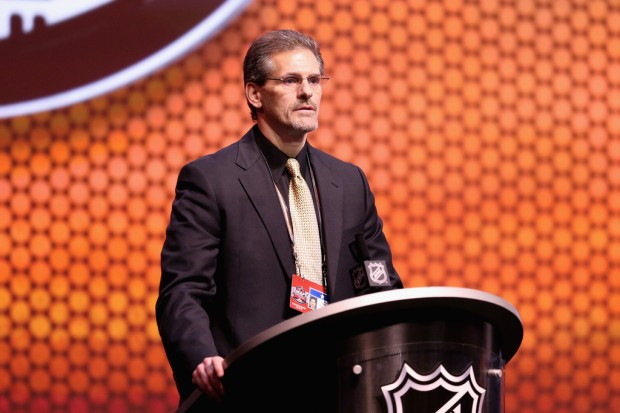 Former Philadelphia Flyers head coach Ron Hextall speaking at the 2014 NHL Draft