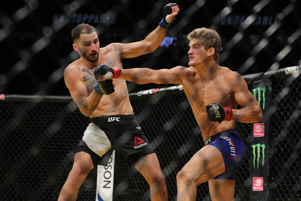 Former UFC competitor Sage Northcutt punches Enrique Marin during the UFC 200 event