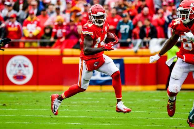 Kansas City Chiefs wide receiver Sammy Watkins catches a pass and runs with the ball against the Jacksonville Jaguars