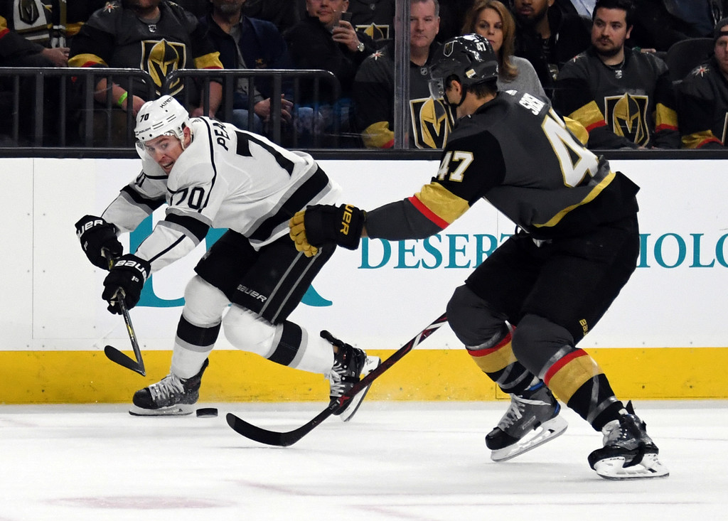 Former Los Angeles Kings Left Winger Tanner Pearson skates with the puck against the Vegas Golden Knights