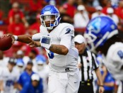 Buffalo Bulls quarterback Tyree Jackson attempting a pass against the Rutgers Scarlet Knights