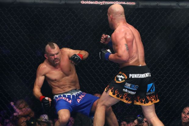 MMA legend Tito Ortiz fighting fellow legend Chuck Liddell in the trilogy at The Forum