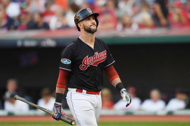 Former Cleveland Indians catcher Yan Gomes reacts after striking out against the Houston Astros in the 2018 MLB playoffs