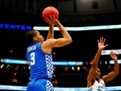 Kentucky Wildcats forward Keldon Johnson taking a jumper against the North Carolina Tar Heels