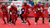 Eastern Washington Eagles quarterback Eric Barriere running with the ball against the UC Davis Aggies
