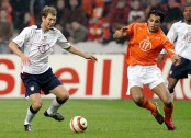 Gregg Berhalter in a Team USA jersey playing against Holland's National Team at ArenA in Amsterdam