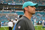 Miami Dolphins head coach Adam Gase walks off the field against the Detroit Lions