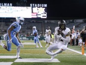 Wake Forest Demon Deacons wide receiver Alex Bachman scores a touchdown against the Tulane Green Wave
