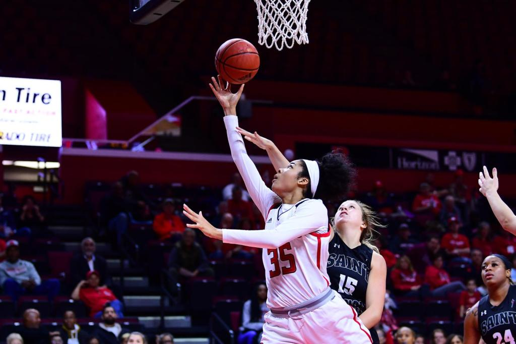 Rutgers Scarlet Knights forward Stasha Carey going to the basket against the St. Joseph's Hawks