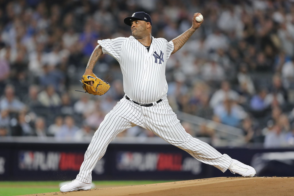 New York Yankees pitcher C.C. Sabathia pitching against the Boston Red Sox in the 2018 MLB playoffs