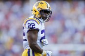 LSU Tigers running back Clyde Edwards-Helaire celebrates in the second half against the Georgia Bulldogs