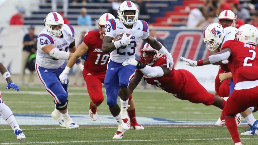 Louisiana Tech Bulldogs running back Jaqwis Dancy rushing the ball against the South Alabama Jaguars