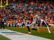 Former Denver Broncos wide receiver Demaryius Thomas catches a touchdown reception against the Los Angeles Rams