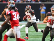 Tampa Bay Buccaneers wide receiver DeSean Jackson catches a reception against the Atlanta Falcons