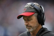 Tampa Bay Buccaneers head coach Dirk Koetter reacts after the Chicago Bears scored a touchdown