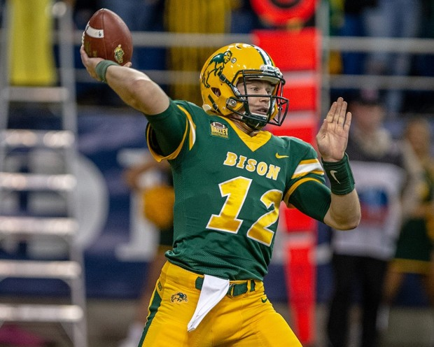 North Dakota State quarterback Easton Stick attempts a pass against Illinois State Redbirds