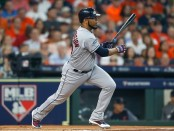 Former Cleveland Indians first baseman/designated hitter Edwin Encarnación grounds out against the Houston Astros in the 2018 MLB Playoffs