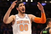 New York Knicks forward Enes Kanter reacts to a call against the Dallas Mavericks