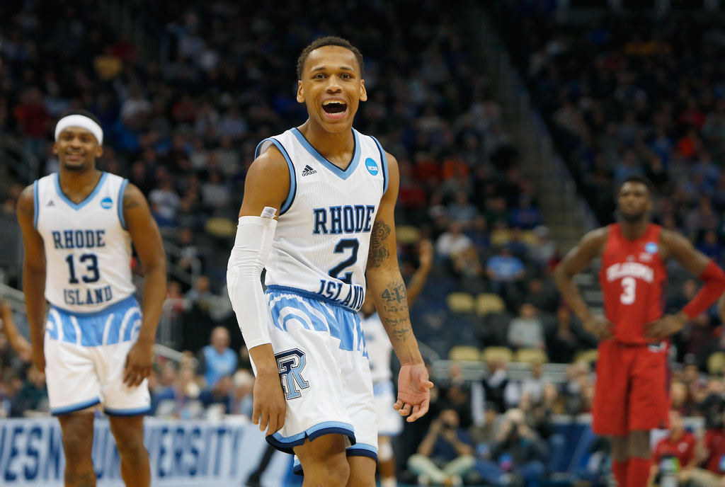 Rhode Island Rams guard Fatts Russell celebrating in the second half against the Oklahoma Sooners in the 2018 NCAA March Madness Tournament