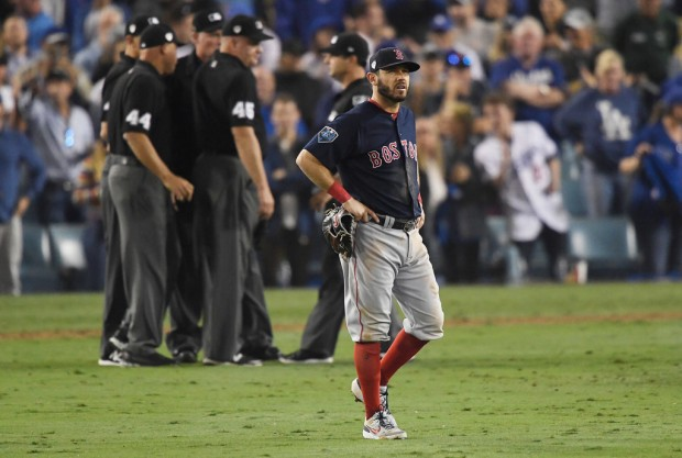 Former Boston Red Sox infielder Ian Kinsler reacts in the thirteenth inning against the Los Angeles Dodgers in the 2018 World Series