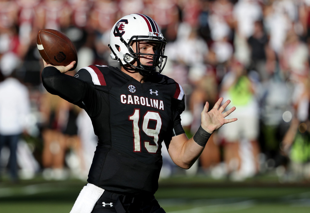 South Carolina Gamecocks quarterback Jake Bentley drops back for a pass against the Texas A&M Aggies