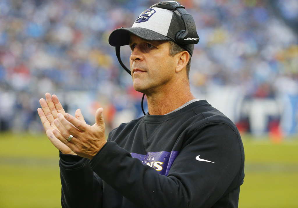 Baltimore Ravens head coach John Harbaugh reacts following a play against the Tennessee Titans